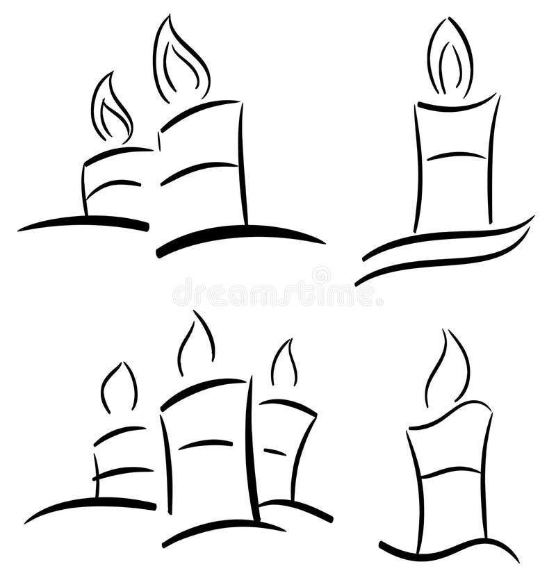 Grupo de velas estilizados no preto isoladas ilustração royalty free