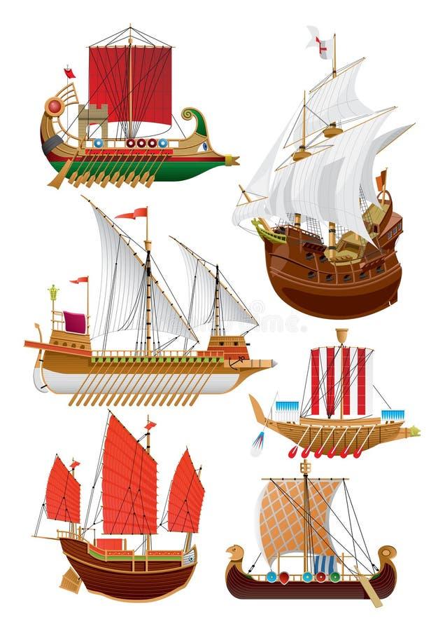 Grupo de veleiros do vintage ilustração stock