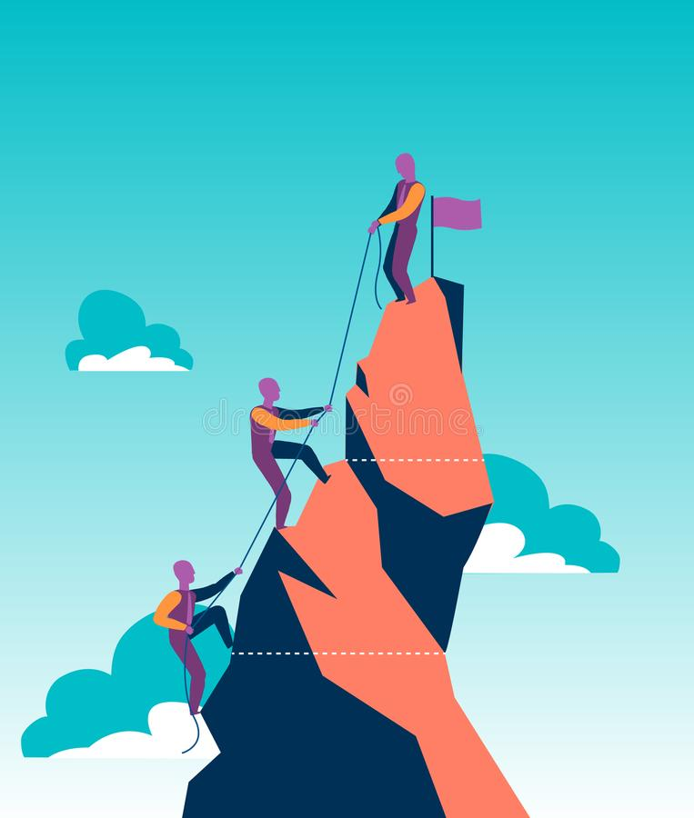 Grupo de vendedores em uma montanha que tenta alcançar o pico imagens de stock royalty free