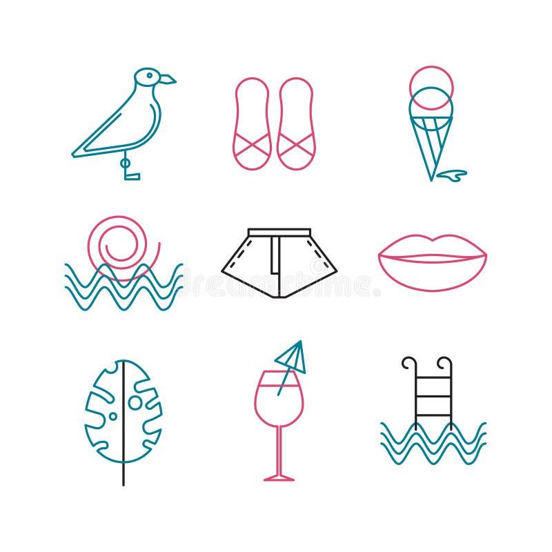 Grupo de verão dos ícones ilustração do vetor