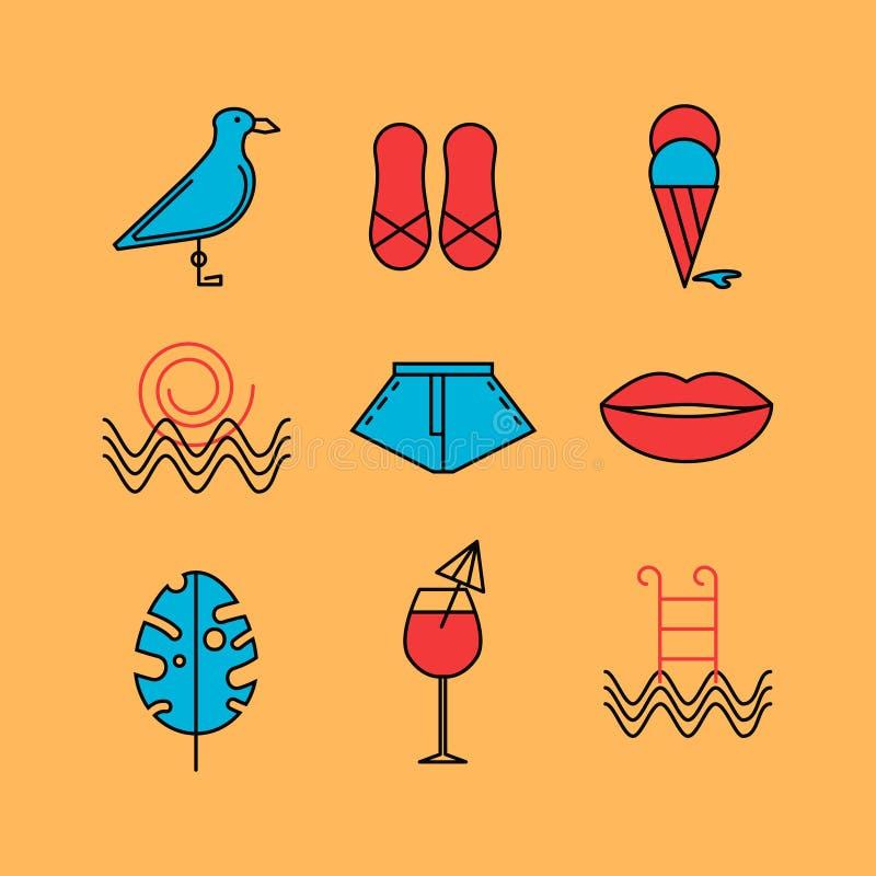 Grupo de verão dos ícones ilustração royalty free