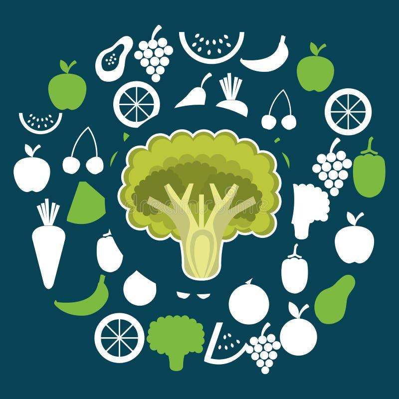Grupo de verduras y de comida del vegetariano de las frutas ilustración del vector