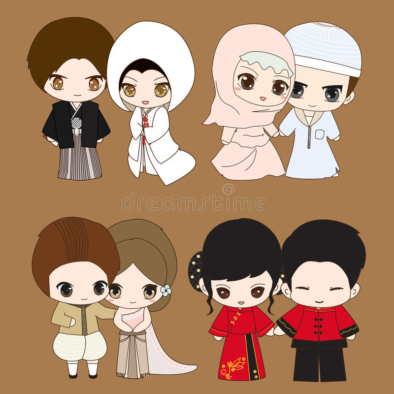 Grupo de vestido de casamento bonito dos desenhos animados ilustração do vetor