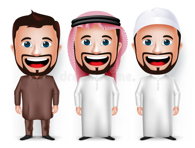 Grupo de vestido realístico do personagem de banda desenhada 3D para saudita e paquistanês ilustração stock
