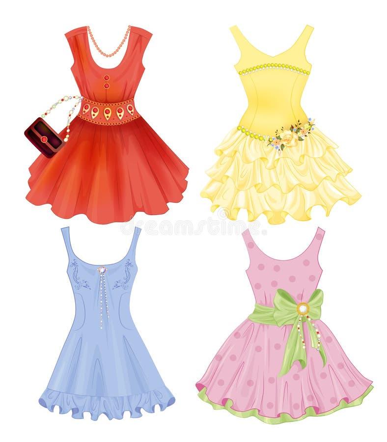 Grupo de vestidos festivos ilustração royalty free