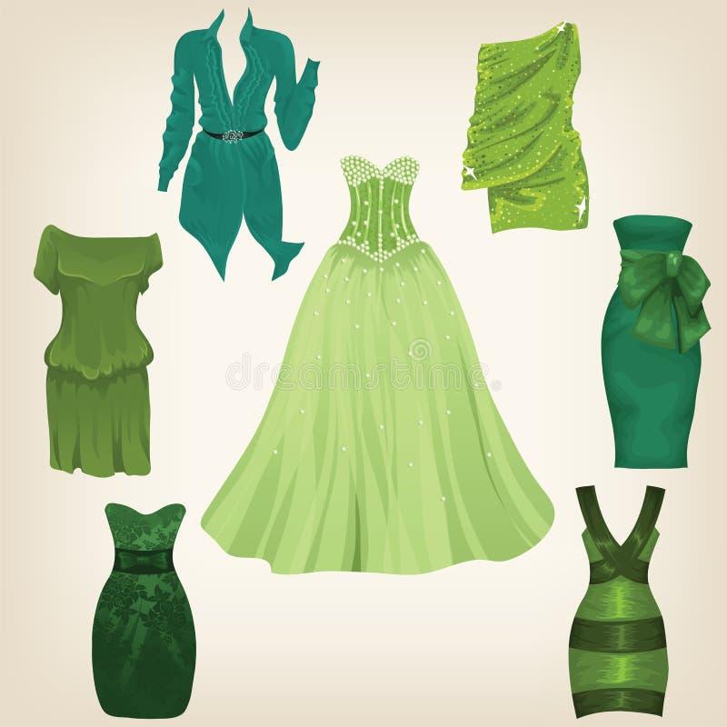 Grupo de vestidos verdes bonitos ilustração do vetor