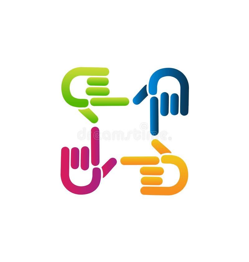 Grupo de vetor apontando colorido do ícone das mãos ilustração royalty free