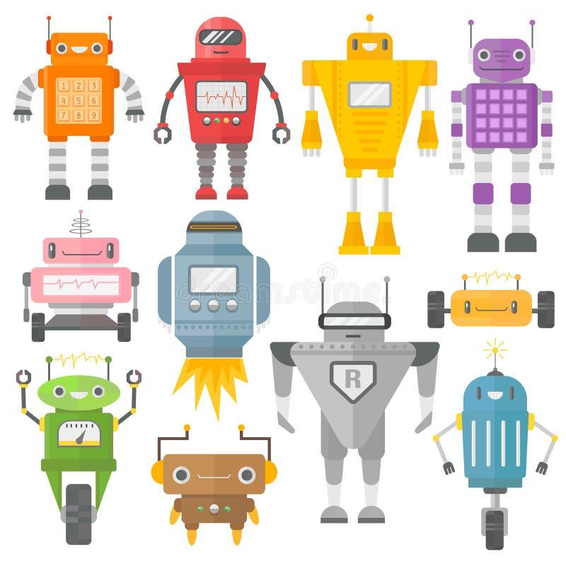 Grupo de vetor bonito dos robôs do vintage ilustração royalty free