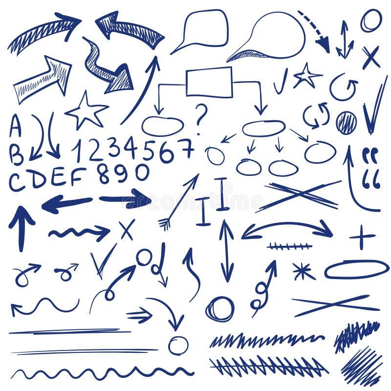 Grupo de VETOR de ícones esboçados Elementos para a correção ou o planeamento do texto Cor azul ilustração royalty free