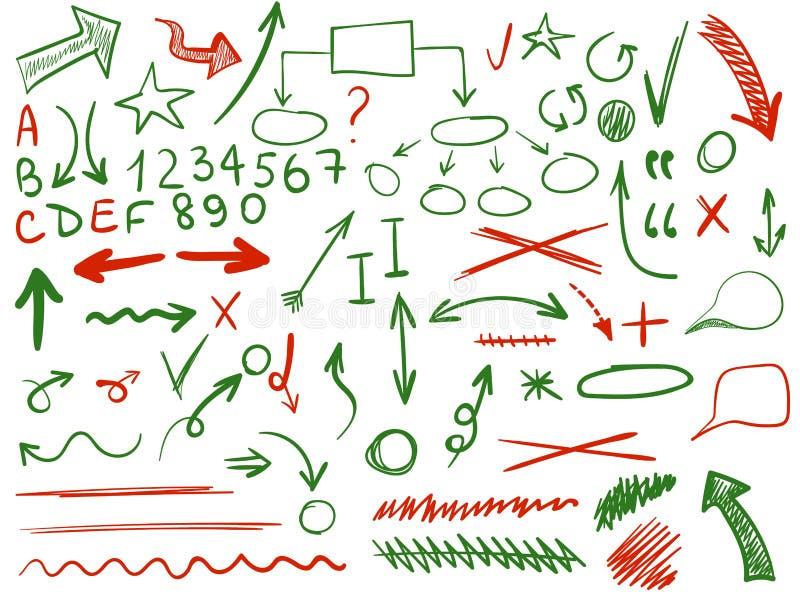 Grupo de VETOR de ícones esboçados Elementos para a correção ou o planeamento do texto Cor azul ilustração stock