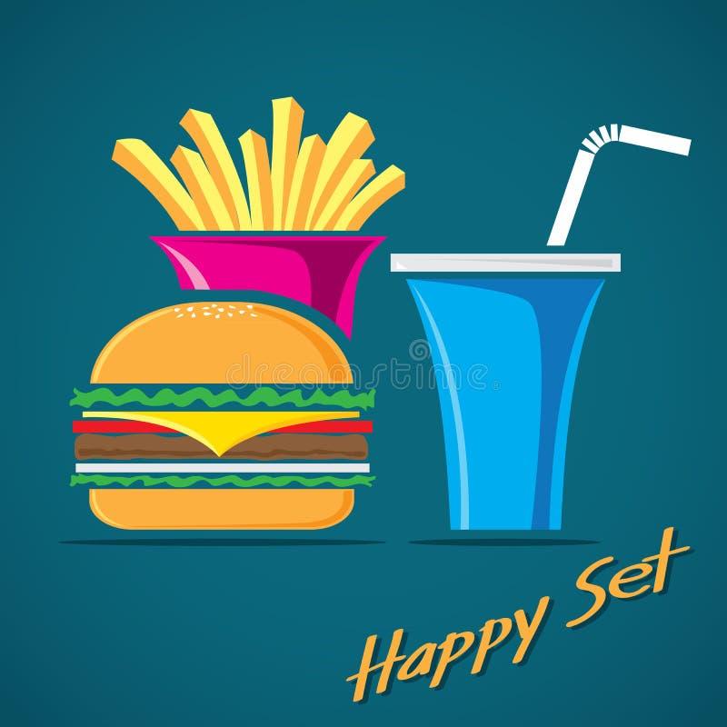 Grupo de vetor do Hamburger ilustração royalty free