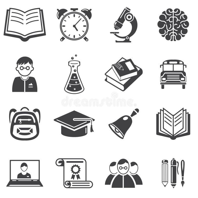 Grupo de vetor dos ícones da educação ilustração royalty free