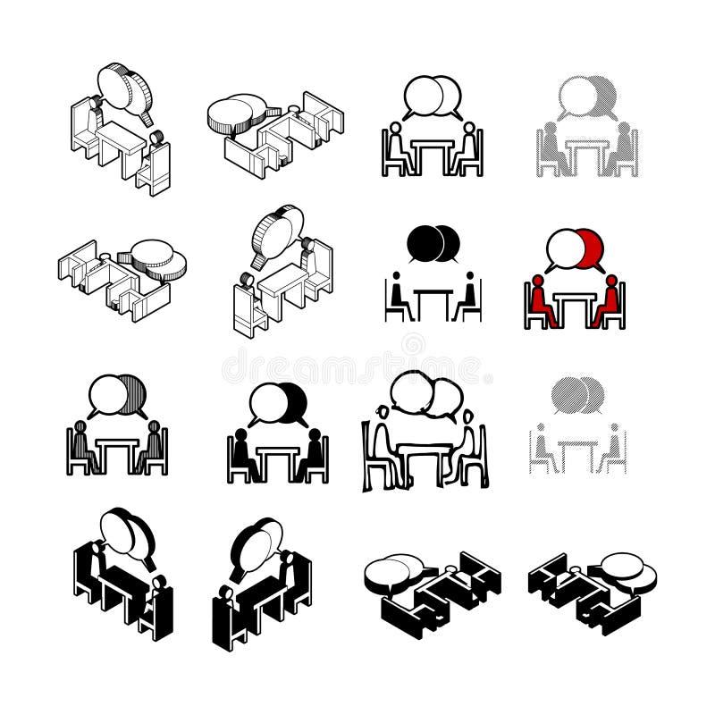 Grupo de vetor moderno da coleção Comunique o ícone multi t dos povos ilustração do vetor
