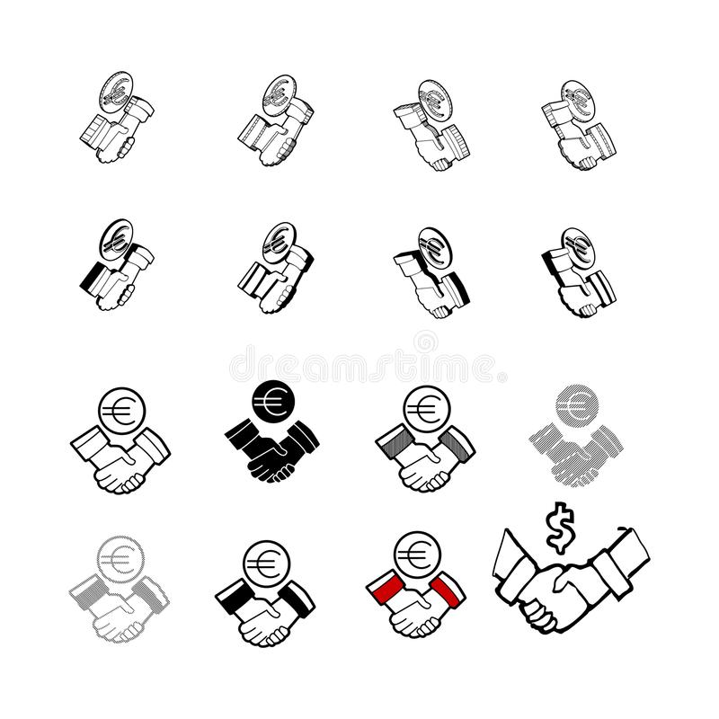 Grupo de vetor moderno da coleção do vetor Verifique o dinheiro de mão multi t ilustração stock