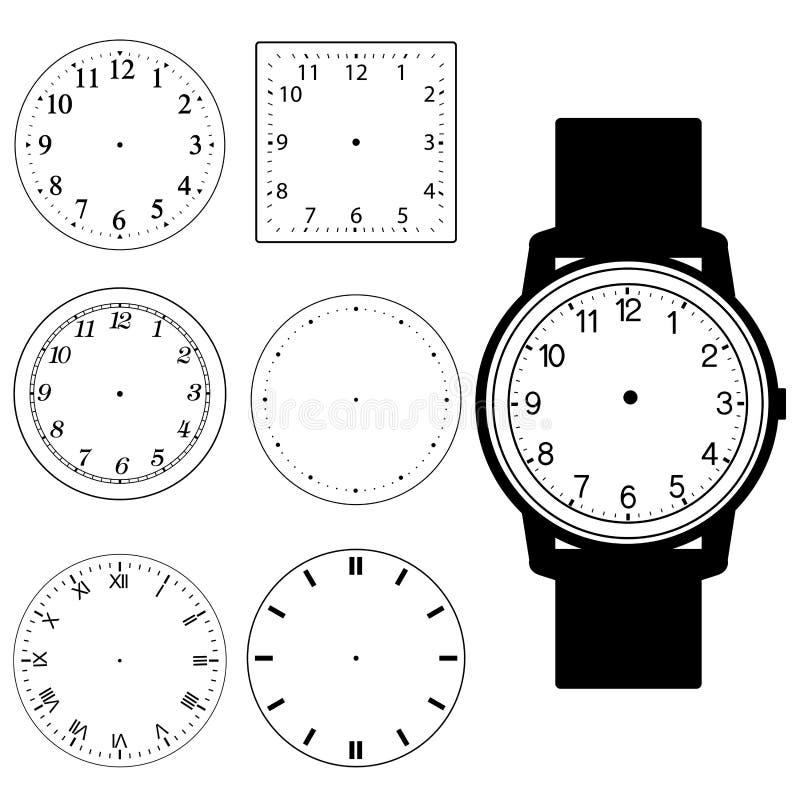 Grupo de vetor vazio da cara do relógio da mão e da face do relógio de parede vazia ilustração royalty free
