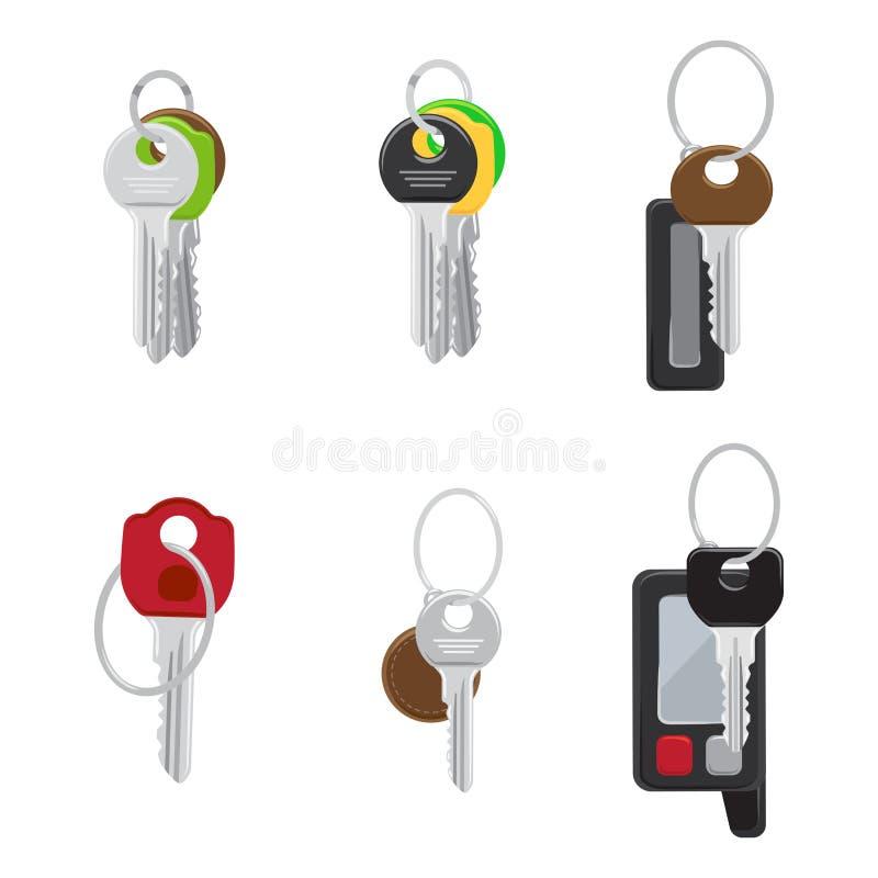 Grupo de vetores lisos modernos das chaves da porta e do carro ilustração royalty free