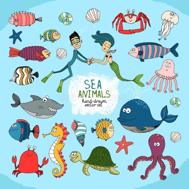 Grupo de vida marinha desenhado à mão dos desenhos animados ilustração royalty free