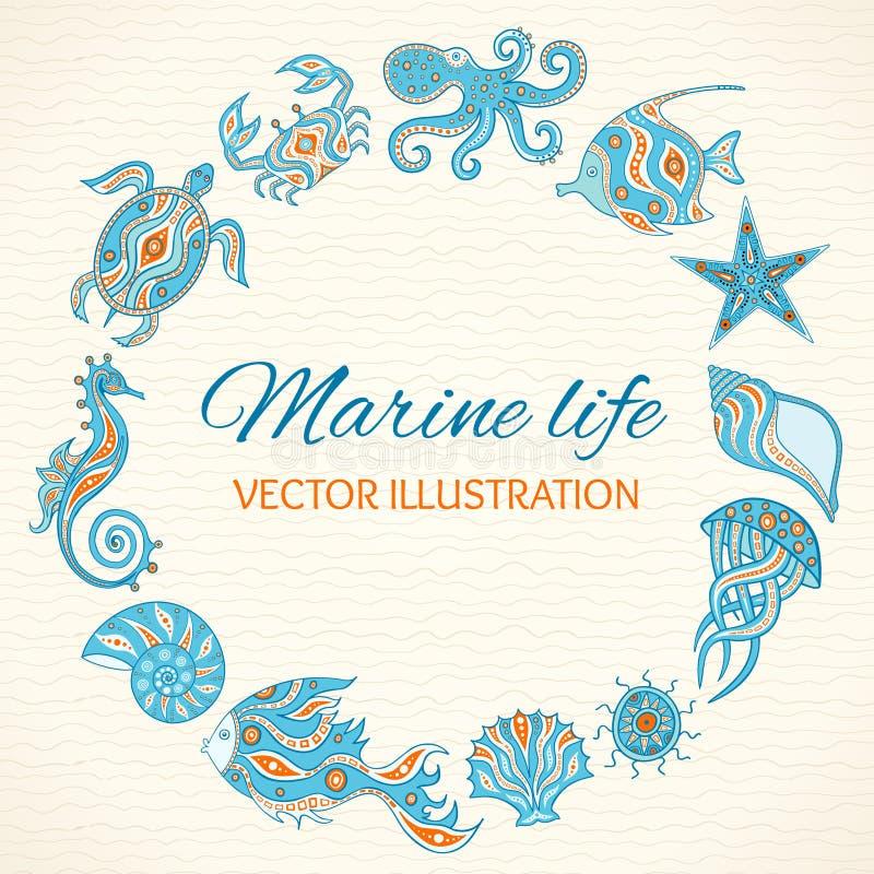 Grupo de vida marinha dos desenhos animados ilustração do vetor
