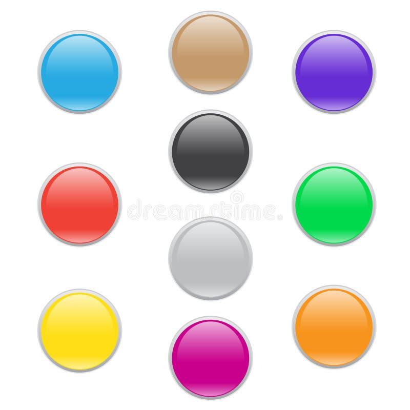 Grupo de vidro do botão do ícone da Web do círculo colorido ilustração do vetor