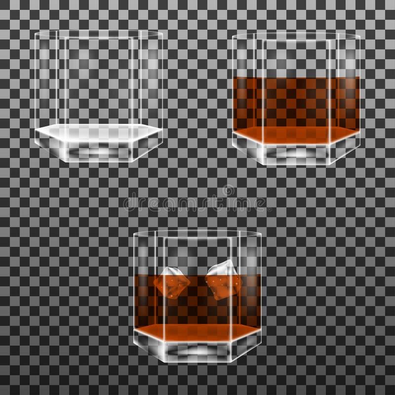 Grupo de vidro lapidado com os cubos do uísque e de gelo ilustração stock