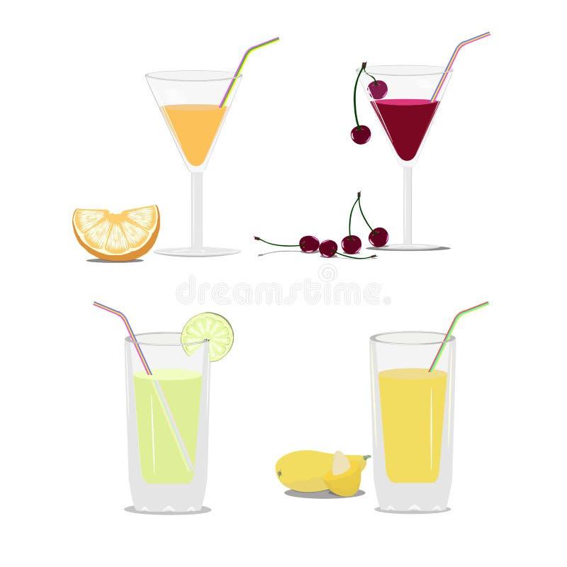 Grupo de vidros com suco e frutos ilustração royalty free