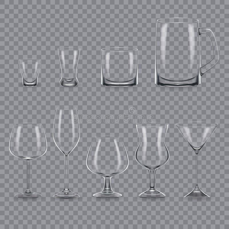 Grupo de vidros e de canecas transparentes vazios do álcool do molde realístico ilustração royalty free