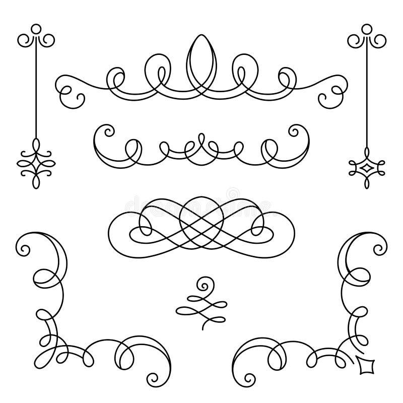 Grupo de vinhetas e de cantos caligráficos do vintage ilustração stock