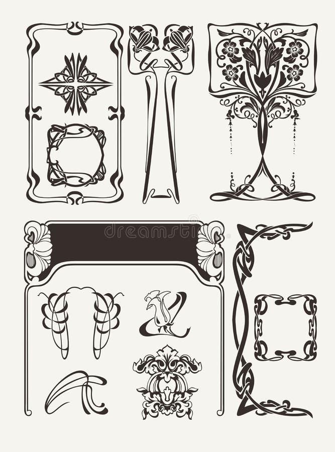 Grupo de vintage Art Deco Design Elements ilustração stock