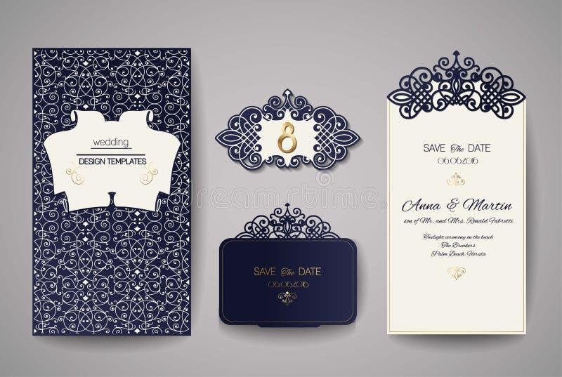 Grupo de vintage do convite do casamento Molde para o corte do laser Ilustração do vetor ilustração do vetor