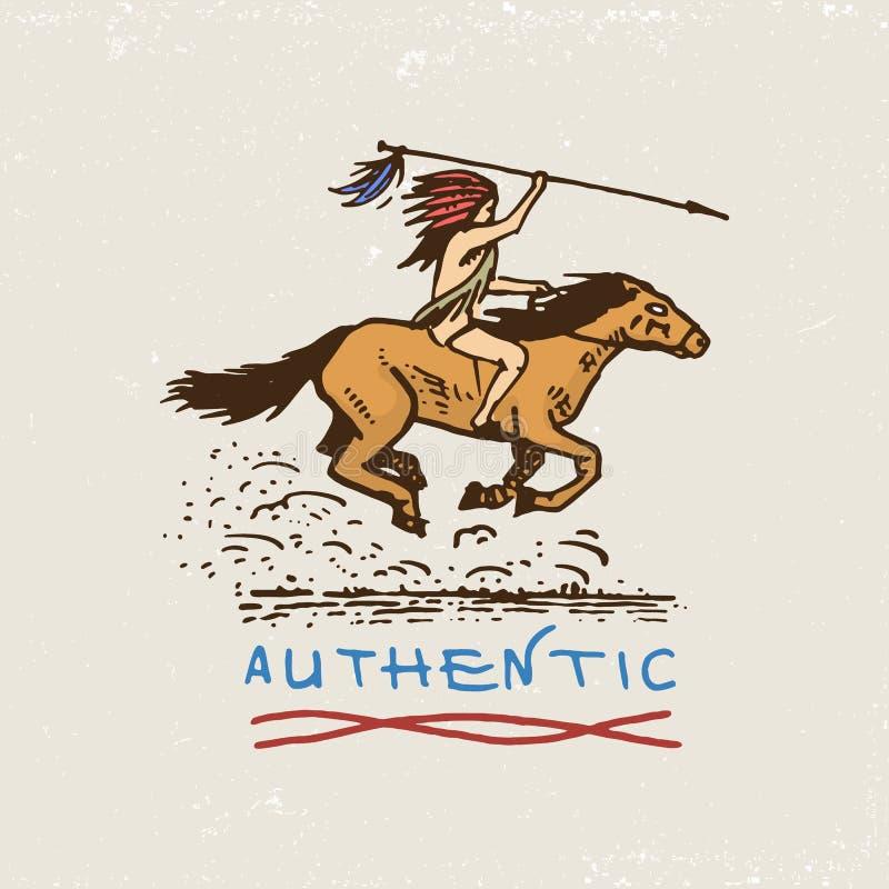 Grupo de vintage gravado, mão tirada, velha, etiquetas ou crachás para o indiano ou o nativo americano cavaleiro do cavalo, autên ilustração do vetor