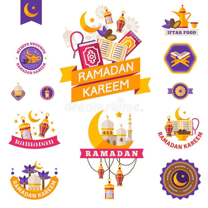 Grupo de vintage Ramadan Kareem Badges ilustração do vetor