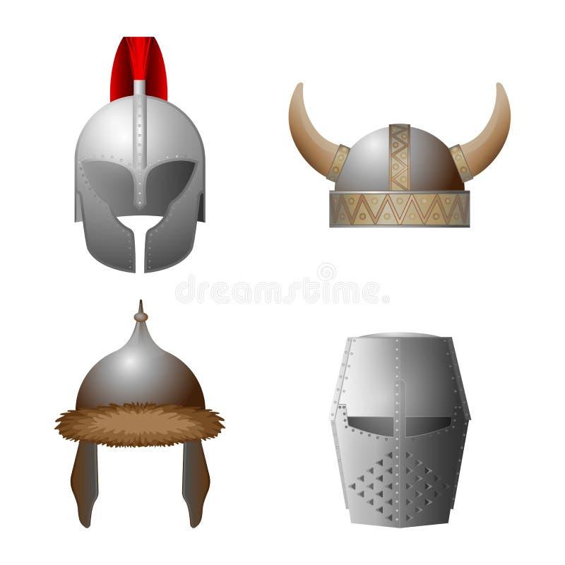 Grupo de viquingue medieval, cavaleiro, horned, capacetes do coppergate ilustração royalty free