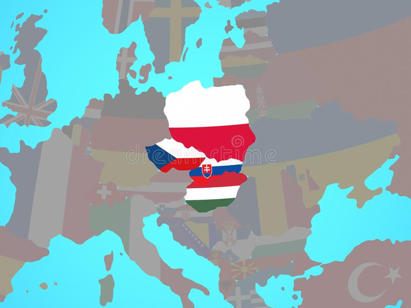 Grupo de Visegrado con las banderas en mapa libre illustration