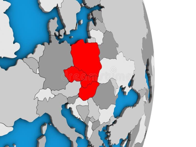 Grupo de Visegrado en el globo 3D ilustración del vector