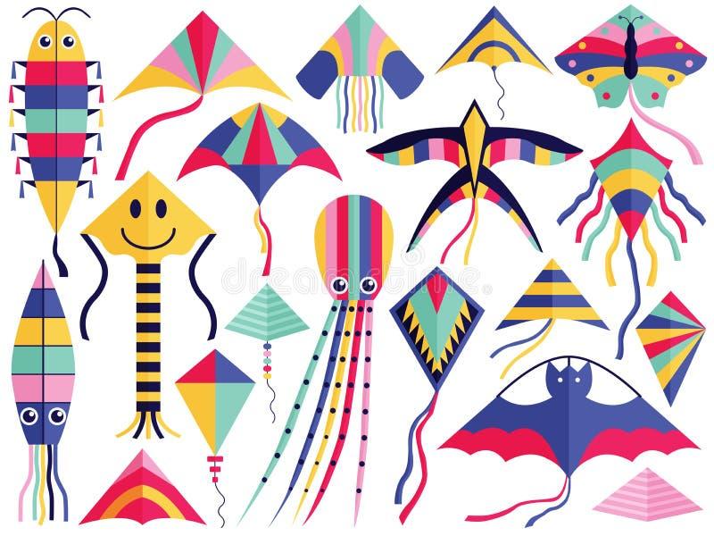 Grupo de voo da coleção do festival do papagaio ilustração do vetor