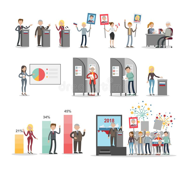 Grupo de votação dos povos ilustração royalty free