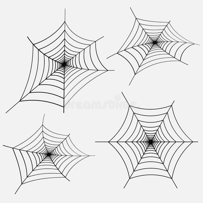 Grupo de Web de aranha preta no fundo branco Elemento do projeto, ícone Vetor ilustração stock