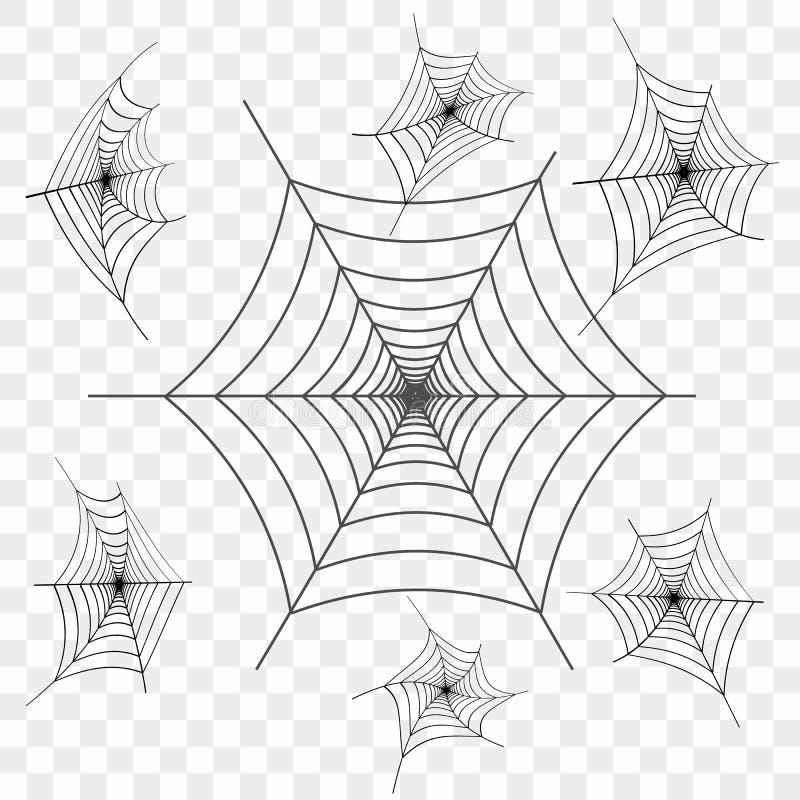 Grupo de Web de aranha preta no fundo transparente Elemento do projeto, ícone Vetor ilustração royalty free