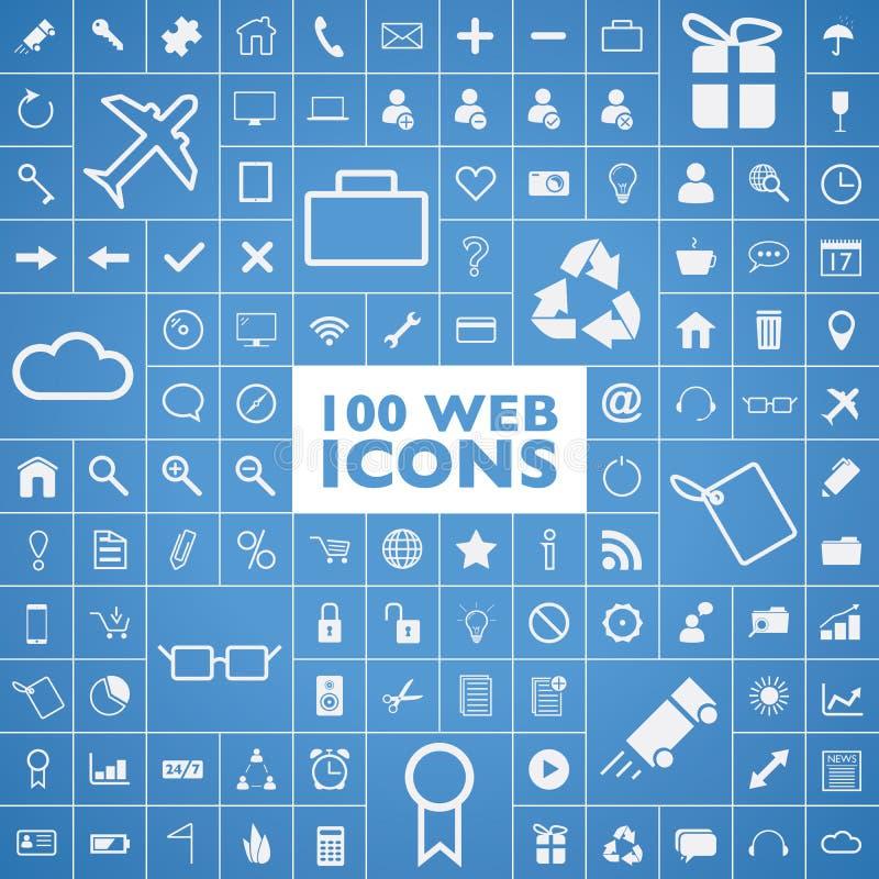 Grupo de 100 Web, Internet, escritório, computador e tra ilustração stock