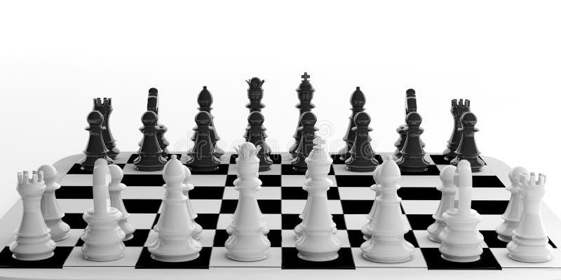 grupo de xadrez da rendição 3d no tabuleiro de xadrez ilustração royalty free