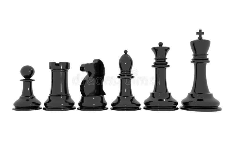 Grupo de xadrez lustrado preto imagens de stock