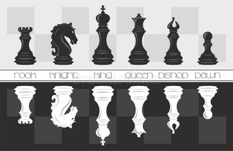 Grupo de xadrez preto e branco Ilustração do vetor foto de stock