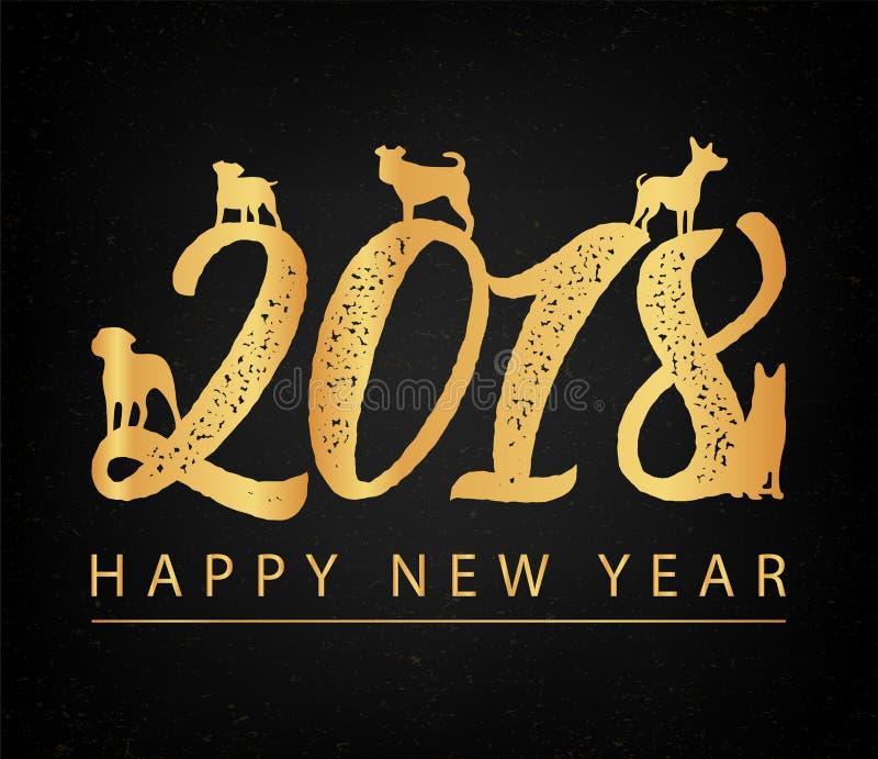 Grupo de zodíaco chinês - cães símbolo do ano 2018 novo Silhueta dourada dos cães Vetor ilustração stock