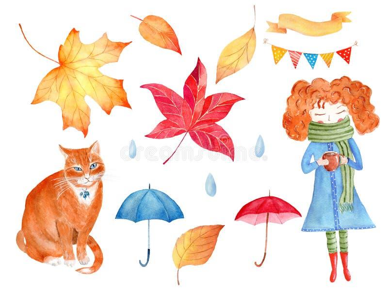 Grupo decorativo das ilustrações da quadriculação da aquarela dos símbolos da estação do outono fotografia de stock