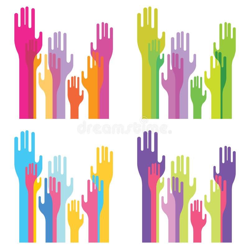 Grupo decorativo de silhuetas das mãos ilustração do vetor