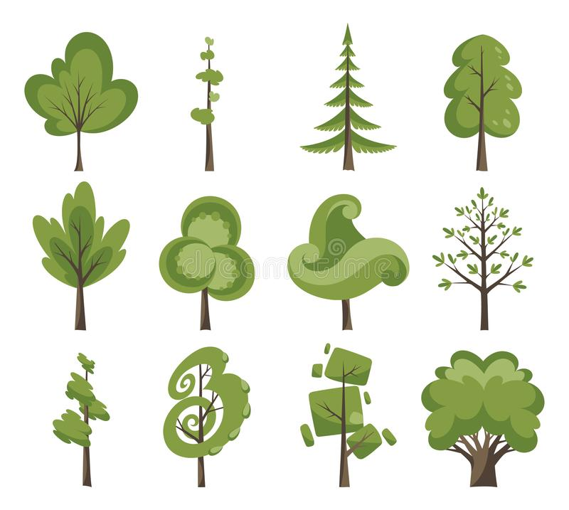 Grupo decorativo do ícone das árvores Árvores lisas em um projeto liso Isolado no branco Ícones do vetor ilustração royalty free