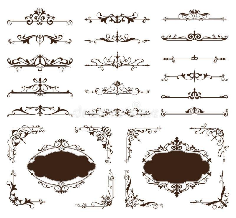 Grupo decorativo do vetor das beiras e dos cantos do projeto de ornamento do vintage ilustração stock