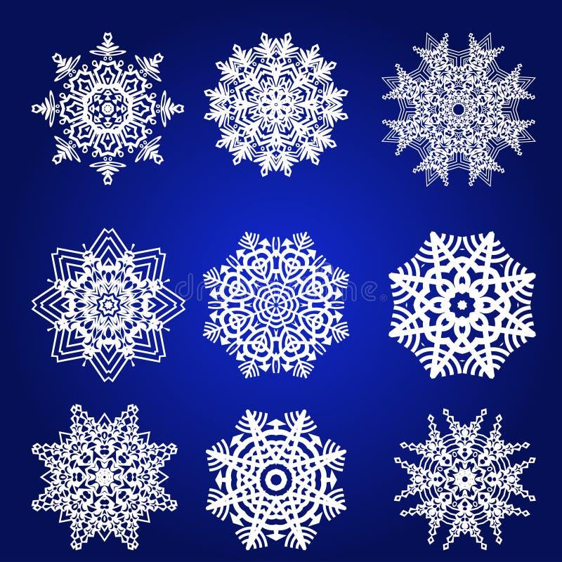 Grupo decorativo do vetor dos flocos de neve ilustração stock