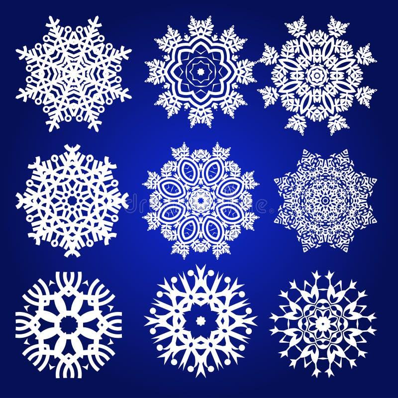 Grupo decorativo do vetor dos flocos de neve ilustração do vetor