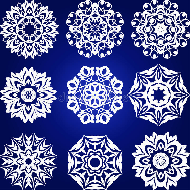 Grupo decorativo do vetor dos flocos de neve ilustração royalty free